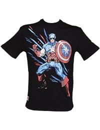 Herren Schwarz Marvel Captain America Artist Series von Shogun T Shirt von Addic