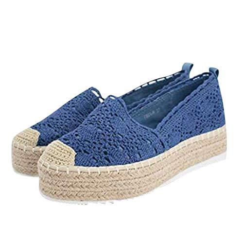 COZOCO Women's Hollow Platform Casual Shoes Solid Color Breathable Wedge Espadrilles Cover Heel Shoes(B-Blau,43 EU)