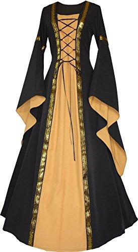 Dornbluth Damen Mittelalter Kleid Anna (36/38 kurz, Schwarz-Safran)