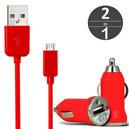 [2 in 1 Set] KFZ USB Charger Universal Ladegerät Adapter für Auto mit LED-Anzeige 1 A / 5 W + Micro USB 2.0 Kabel 1 m Datenkabel von wortek Rot