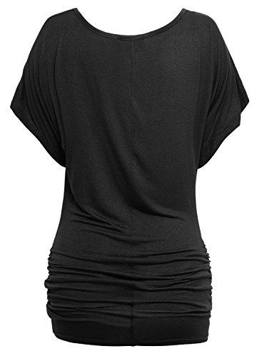 DJT Femme T-shirt d'ete Manches courtes Casual Tops Tunique Noir
