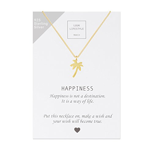 LUUK LIFESTYLE Sterling Silber 925 Halskette mit Palmen Anhänger und Happiness Spruchkarte, Glücksbringer, Damen Schmuck, gold