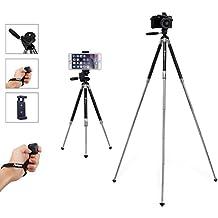 Fotopro Trípode iPhone, 39.5 Pulgadas de Aluminio de Trípode de la Cámara, Trípode de Teléfono y Soporte de la Cámara Portátil Con Control Remoto Bluetooth y Smartphone Clip Mount Apto para el Disparo Exterior, Viaje o Youtobe Video Making, etc (Negro)