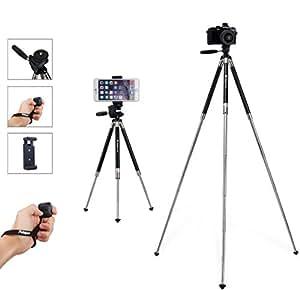 Fotopro 39.5 Pollici Treppiede di Fotocamera Treppiede di Cellulare in Alluminio Supporto di Fotocamera Portabile con Telecomando Bluetooth e Clip da Montare Smartphone per Riprese in Esterno, Viaggio o Creazione di Youtube Video, ecc (Argento)