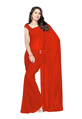 Fab Fiona Georgette Saree (Plain Red_8542_003_Red)