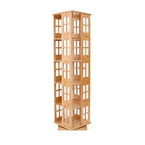 Lagerung Lagerregal 5 Schichten 360º Drehbarer Bücherregal Kreative Standing Student Bücherregal Moderne Einfache Bambus Bücherregal -