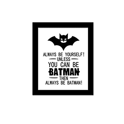 "Yanqiao 9.8*11.8"" Cartoon Batman Frameless Canvas Painting Wall Decor for Kids' Room Living Room Decoration DIY English Letters Wall Quotes Poster"