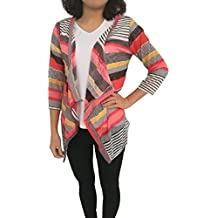 Donna Loose irregolari Stripe scialle kimono Cardigan Top Cover Up (Pocket Cami)