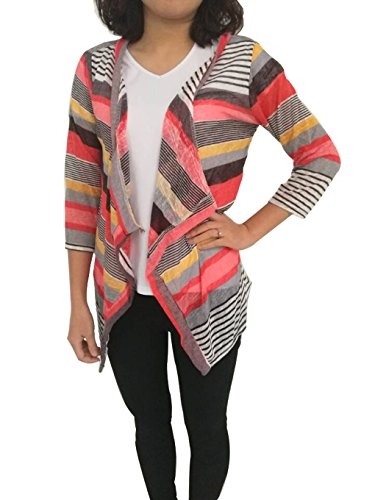 Donna Loose irregolari Stripe scialle kimono Cardigan Top Cover Up Camicetta Red Large