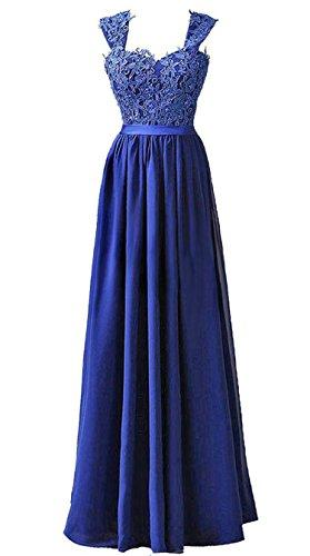 Vantexi Frauen Chiffon Lange Formal Abendkleider Ballkleid Abschlussball Kleider Blau Größe 52