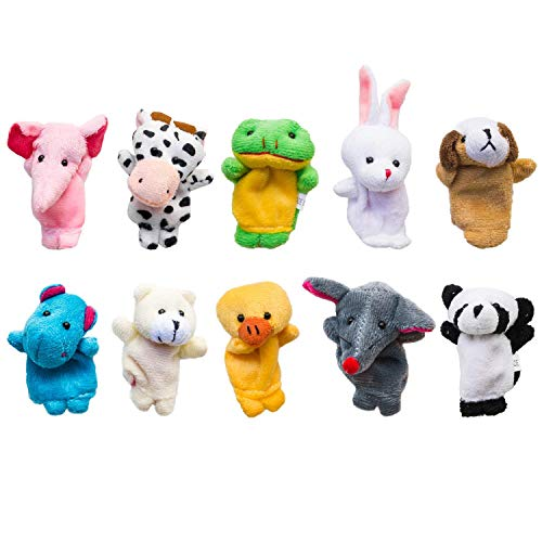 Cuttlefish Velvet Cute Animal Style Finger Puppets for Children, Shows, Playtime, Schools - 10 Animals Set
