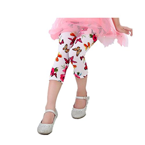 Neue Schmetterlings-mädchen-strumpfhose (Bekleidung Longra Baby Kinder Mädchen Schmetterling Blume Print Leggings Hosen 7-Cent-Hosen-Kleidung(2-7Jahre) (140CM 6-7Jahre, White))