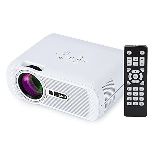 LESHP Projector, LESHP LED Mini Full HD Projector Portable Pico Projector Home 3D Multimedia Projector Short Throw Projector 1080p Home Theater Cinema Video Movie Projector Support USB/AV/SD/HDMI/VGA for La
