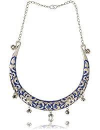 Fashion For Sure Blue Oxidized Silver Choker Necklace For Women (N98)