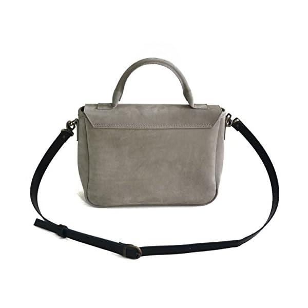 Women handbag with strap; grey leather; eco-friendly - handmade-bags