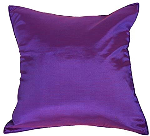 Artiwa? 16x16 Silk Sofa Bed Decorative Throw Pillow Cover Solid Plum Purple by Artiwa