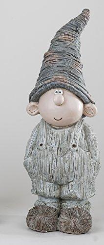 Gartenfigur Lustige Gartenzwerg Figur Junge 53 cm aus wetterfestem Magnesia gefertigt und handbemalt (Creme - Junge)