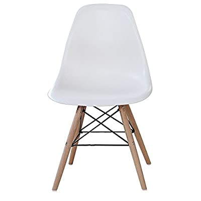 P&N Homewares® Moda Dining Chair Plastic Wood Retro Dining Chairs White Modern Furniture - low-cost UK light shop.