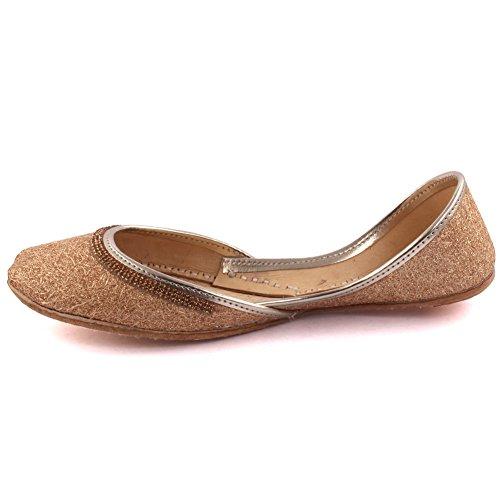 Schuhe Glittery 612 UK Freizeit Pantoffeln 8 Leder Damen Traditionelle Handgefertigte LS Unze Damen Gr枚脽e flache Gold indischen Gold BIHAR Khussa 3 qYgO6wS