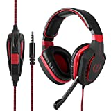 Gaming Headset Ps4 Noise Reduction Microphone Headphone Adapter, Volume Control, Bass Surround, Free Inverted Split Cool Earmuffs, Xbox One PC Laptop Tablet Mac Smartphone (Black/Red)