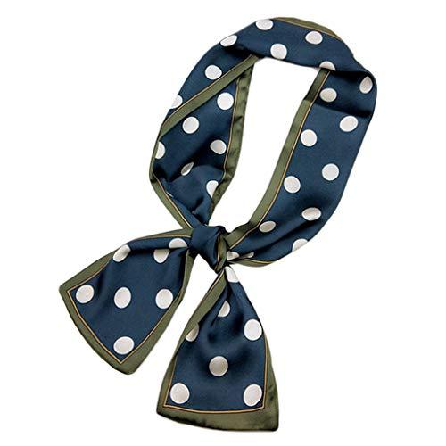 Kofun Frauen Schal, Frauen Imitation Silk Doppelseitiger Druck Schal Kontrastfarbe Vintage Polka Dot Halstuch Haarband Schmale Streifen Krawatte Tasche Bänder E -
