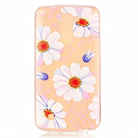 MUTOUREN LG K10 case cover Shock-Absorption Bumper with Anti-Scratch Clear Back Ultra Slim Super Soft TPU Silicone Gel Back Skin Protective Accessory Scratch Proof Pink Transparent full Pattern-flowers leaves