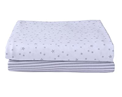 Stars & Stripes 2 Pack Fitted Moses Basket Sheets - Grey