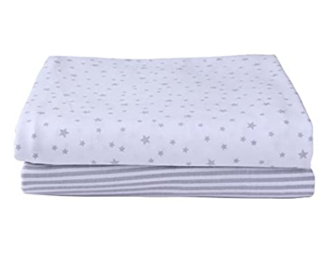 Stars & Stripes 2 Pack Fitted Cot Sheets - Grey