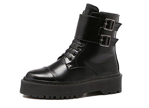 YCMDM Femmes Nouveau Martin Boots Round Head Anti-Skid Bottes Printemps Automne Et Hiver Bottes Courtes Black