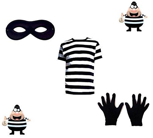 NEU Neueste Einbrecher Kostüm schwarz und weiß SWAG Beute T-Shirt Maske Handschuhe Kostüm - Hemd + Maske + Handschuhe, X-Large (Neueste Kinder Kostüme)