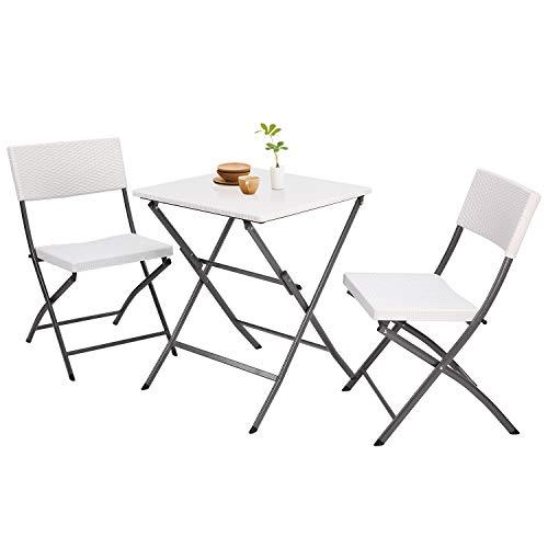 TAVR Furniture Gartenmöbel Faltbar im 3er Set Weiß Klappstuhl Klapptisch Wetterresistent CH1005