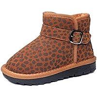 JIE Botas de Nieve para Niños Leopardo de Invierno Calzados con Zapatos Casuales Más Gruesos de Terciopelo Zapatos de Algodón para Niños Grandes Zapatos Ligeros para Niños,marrón,37
