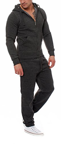 95D5 Fabrica Herren Jogging Anzug Trainingsanzug Sweatshirt Dunkelgrau Gr. L