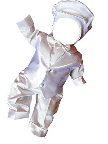 YES Taufanzug Festanzug Babyanzug Anzug Junge Baby Taufe Weste Hemd Mütze Fliege, Maximilian, Gr.68, weiß