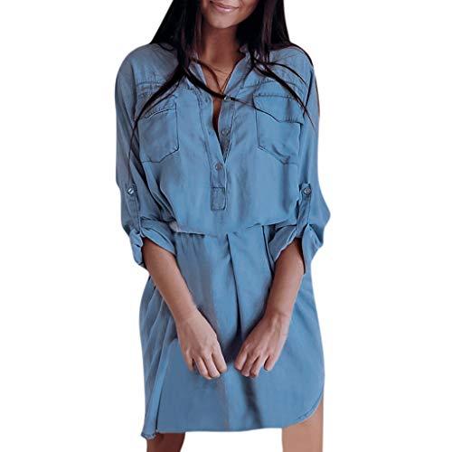 luse Frauen Langarm Taschen Longline Denim Shirt Kleid Damen Botton Jean Kleider ()