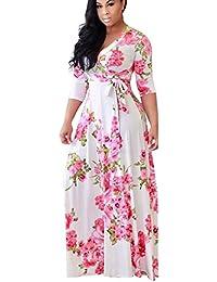 9c6219e483e6e5 Landove Vestito Lungo Elegante Donna Cerimonia Abito Maniche 3/4 Vestiti  Stampa Floreale Scollo a V Casual Mode Bohemian Abiti…