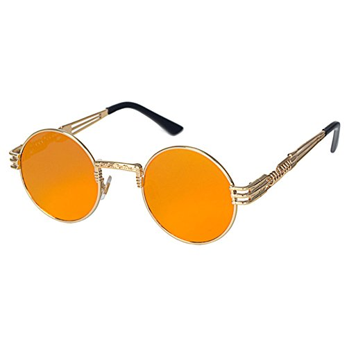 Highdas Steampunk Punk Rock Shades Vintage Runde Sonnenbrille C3 (Rock Brille)