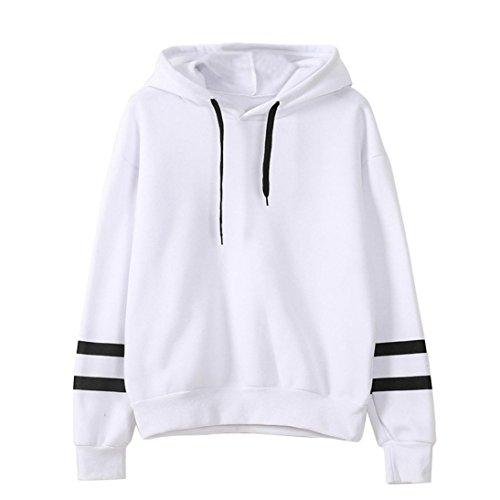 Hoodie Weiß-kleidung (Keepwin Damen Hoodie Kapuzenpullis, Frauen Langarm Kapuzenpulli Sweatshirt Pullover Tops Kapuzen Bluse (S, Weiß))