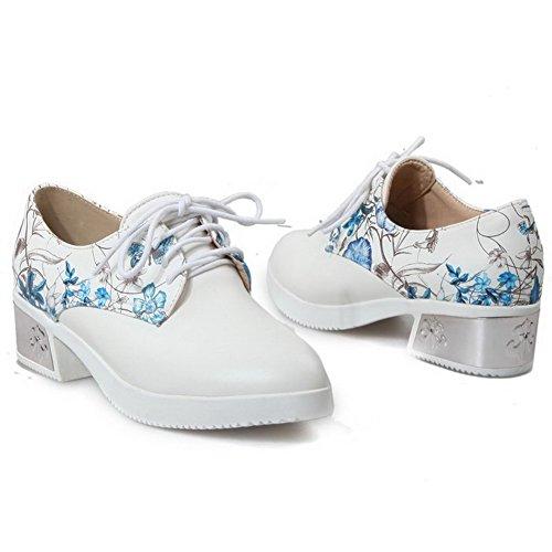 VogueZone009 Femme Pu Cuir Couleurs Mélangées Lacet Rond à Talon Correct Chaussures Légeres Bleu