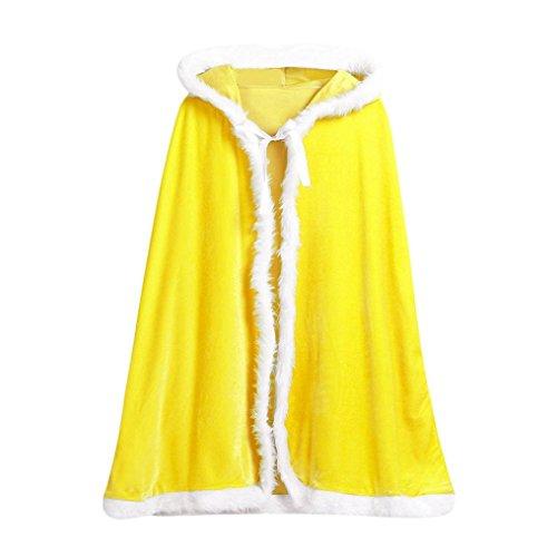 oud Junge Mädchen Weihnachten Kostüm Sankt Mit Kapuze Mantel Cosplay Strickjacke Einfarbig Flanell Jacken Mode Niedlich Blouson (Gelb) (Biber Kostüm Baby)