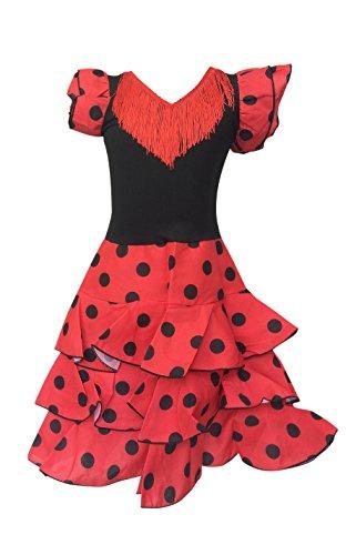 Spanische Tänzerin Kostüm Senorita Flamenco - La Senorita Spanische Flamenco Kleid Niño Deluxe / Kostüm - für Mädchen / Kinder - Rot / Schwarz (Größe 104-110 - Länge 75 cm- 5-6 Jahr)