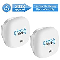 VNEED [2018 Upgraded Ultrasonic Pest Repeller, Electronic Pest Repellent Plug in - Insects Repellent - Repels Mice, Bed Bugs, Mosquitoes, Spiders - mini size - Human/Pet Safe (2 PACK)