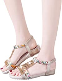 b973365211a5e TianWlio Sandalen Damen Sommer Crystal Bling Flache Böhmen Strand Schuhe  Römischen Sandalen Gold-Silber 35