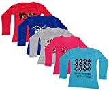 IndiWeaves Girls Cotton Full Sleeve Printed T-Shirt (Pack of 5)_Red::Blue::Red::Blue::Grey_Size-8-9 Years