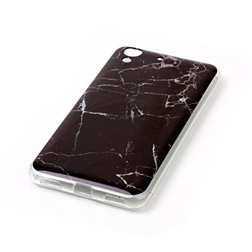 SZHTSWU® Hülle für iPhone 5 5s/iPhone SE 5SE, Ultra Slim Thin Marmor Stein Marble Effekt Muster Weiche TPU Ultradünn Soft Silikon Schutzhülle Case Transparent Clear Flexible Rückschale Back Cover Etui Schwarz Marble
