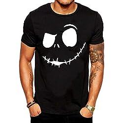 Camisetas Hombre Originales Manga Corta Verano,JiaMeng Camiseta cómoda con Cuello Redondo y Cuello Redondo de New Evil Smile de la Impresión de la Moda Camisetas