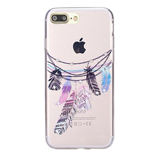 Custodia iPhone 7 Plus,iPhone 7 Plus Cover, Bonice 2pcs Caso Divertente Colorato Cristallo Bling Strass Fiore Trasparente Ultra Sottile Morbido TPU Gel Case Cover per iPhone 7 Plus (5.5 Inch), mandala model 01