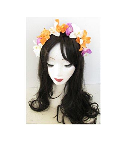 Orchidée orange violet blanc fleur bandeau Guirlande Festival Vintage fait main M70 * * * * * * * * exclusivement vendu par – Beauté * * * * * * * *