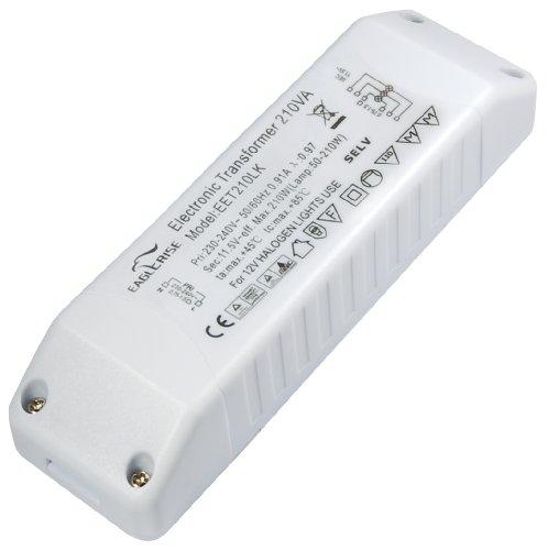 Transmedia - Trasformatore elettronico per lampade alogene, 230 V su 12 V, 50-150 Watt con protezione da sovraccarico e temperatura eccessiva 1 pezzo