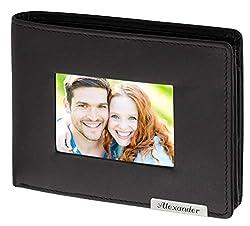 Cadenis Herren Leder Geldbörse mit großem Fotofach und Laser-Gravur Rindsleder schwarz Querformat 12,5 x 9,5 cm